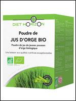 DIET HORIZON - Poudre de jus d'orge Bio - 60 sticks de 3,3 g